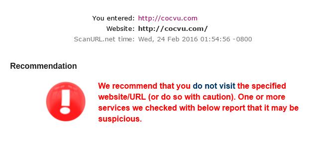 ScanURL.net cho kết quả tương tự các website khác