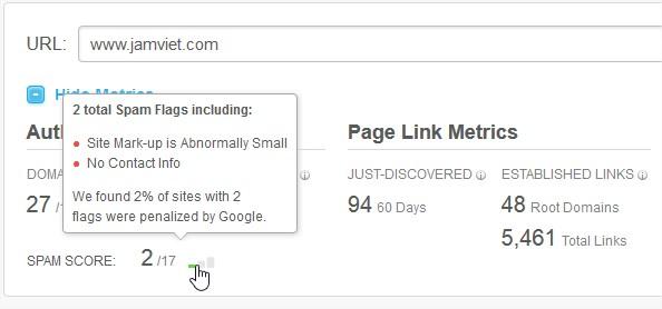Kiểm tra Jamviet.com với 2 điểm SPAM :D