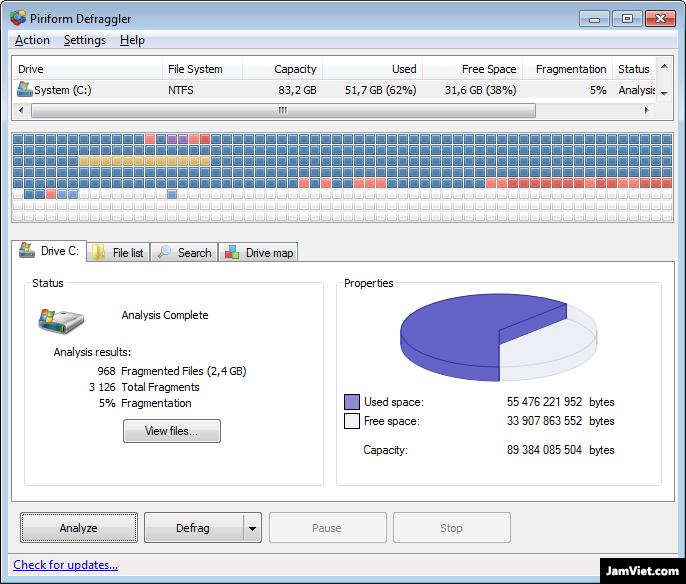 Phần mềm chống phân mảnh ổ cứng Deflagger
