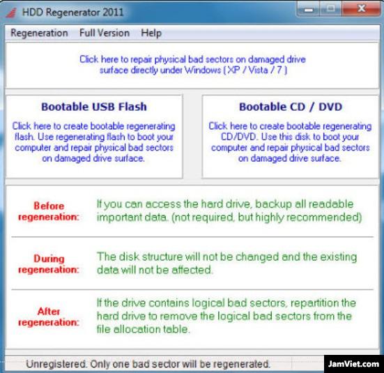Giao diện cực kì trực quan và dễ dàng sử dụng của HDD Regenerator