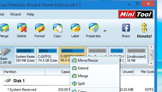 Chọn Move/resize ổ đĩa cần resize