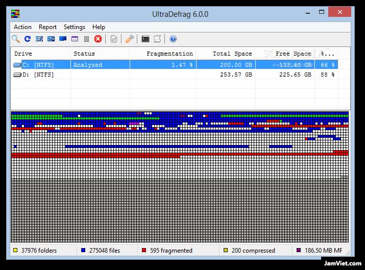 Phần mềm miễn phí chống phân mảnh ổ cứng UltraDefrag