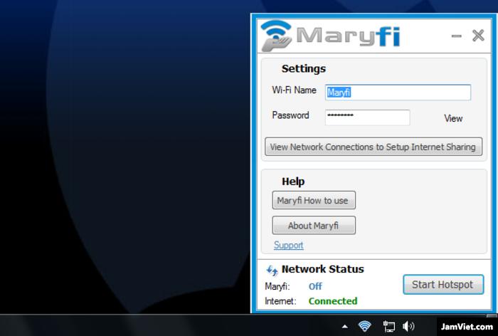 Giao diện phần mềm phát wifi Marifi