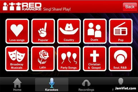Giao diện chính của Red Karaoke