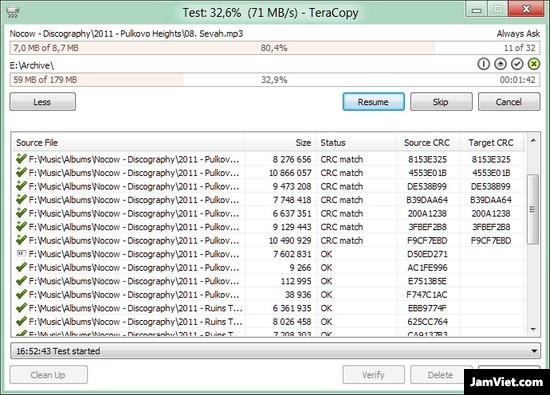 Giao diện phần mềm tăng tốc copy: TeraCopy