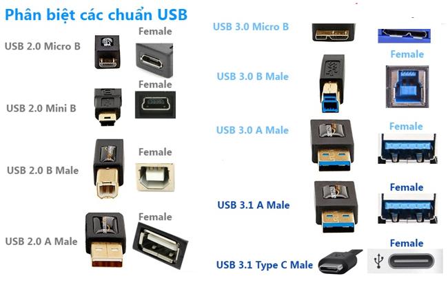 Các loại cổng USB trong thực tế sử dụng