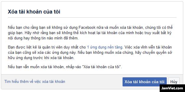 Facebook hỏi bạn có muốn xóa tài khoản không