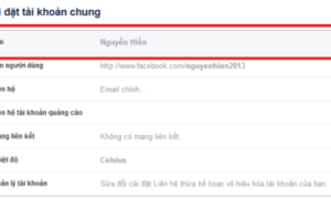 Thay đổi tên trên Facebook