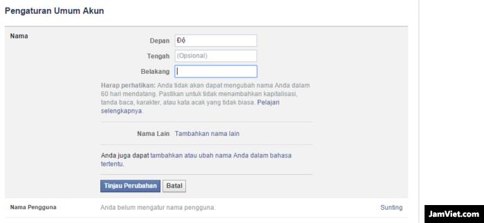 Đổi tên trên Facebook thành tên 1 chữ