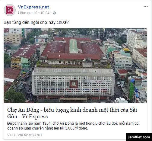 Một tin chia sẻ của VNexpress lên Facebook