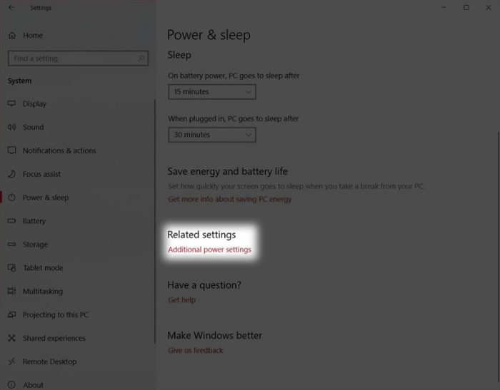 chọn Additional power settings
