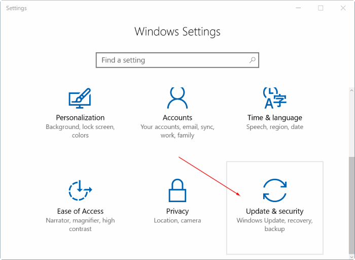 Chọn vào Update and Security trong Windows Setting