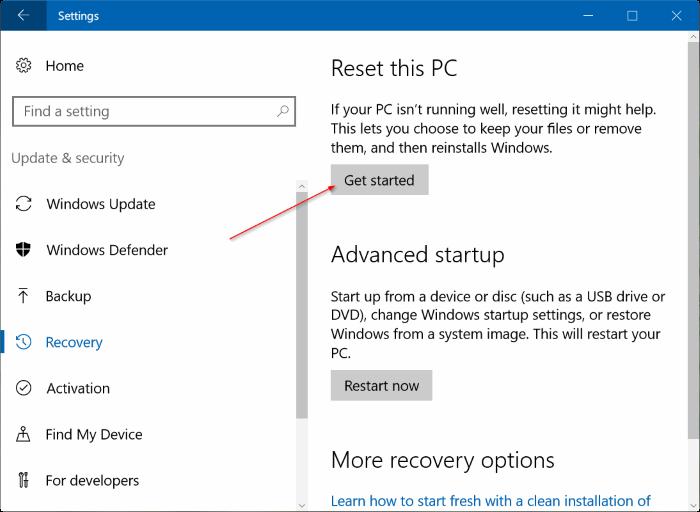 """Chọn mục Reset this PC và chọn tiết vào """"get Start"""""""