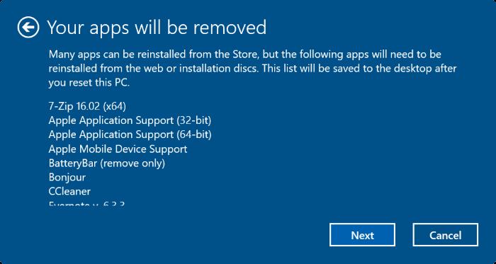 Cảnh báo các ứng dụng sẽ bị xóa khi reset windows 10
