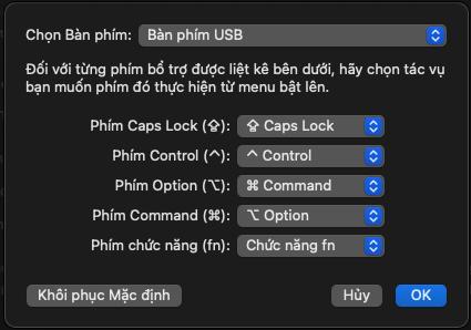 Bước 4: Tùy chọn như hình là: Đổi nút ALT với nút Windows để giống với bàn phím Macbook